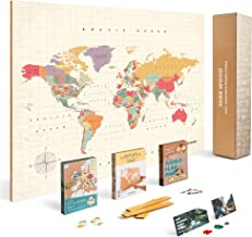 Push Pin Travel Map Kit Includes: Cork World Travel Map, World Flags, Food Stickers, for Travelers (Tropical, L (17.7 x 23.6 inches))