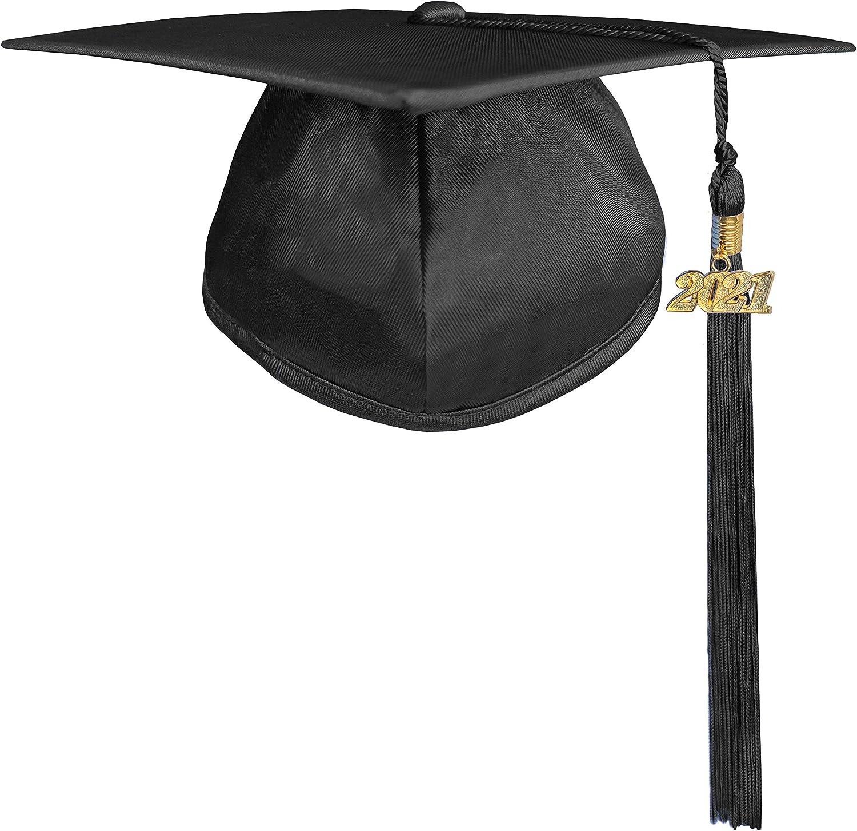 Happy Secret Unisex Shiny Graduation Cap with Graduation Tassel Year Charm 2021