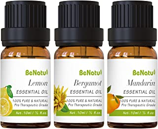 Benatu Essential Oils Gift Set(Lemon, Citrus, Bergamot), Pure and Organic Beginners Kit for Aromatherapy, Diffuser, Massag...