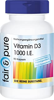 Vitamina D3 1000 U.I. - Colecalciferol - Alta pureza - 90 Cápsulas