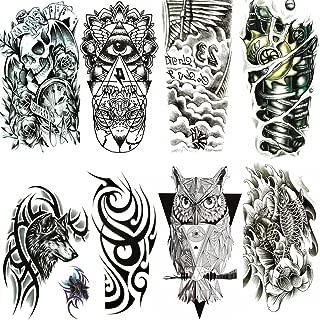 Yesallwas Large Temporary Tattoo Sticker Fake Tattoosfor Men, Teens Guys,Kids Boys (8 Sheets), Waterproof Fake Tattoos Stickers for Shoulders Chest & Back - Koi Fish,Skull,Tribal, totem