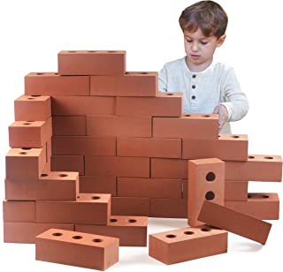 Playlearn Foam Brick Building Blocks for Kids, Actual Brick Size, Builders Set for Construction and Stacking (25 Pack)