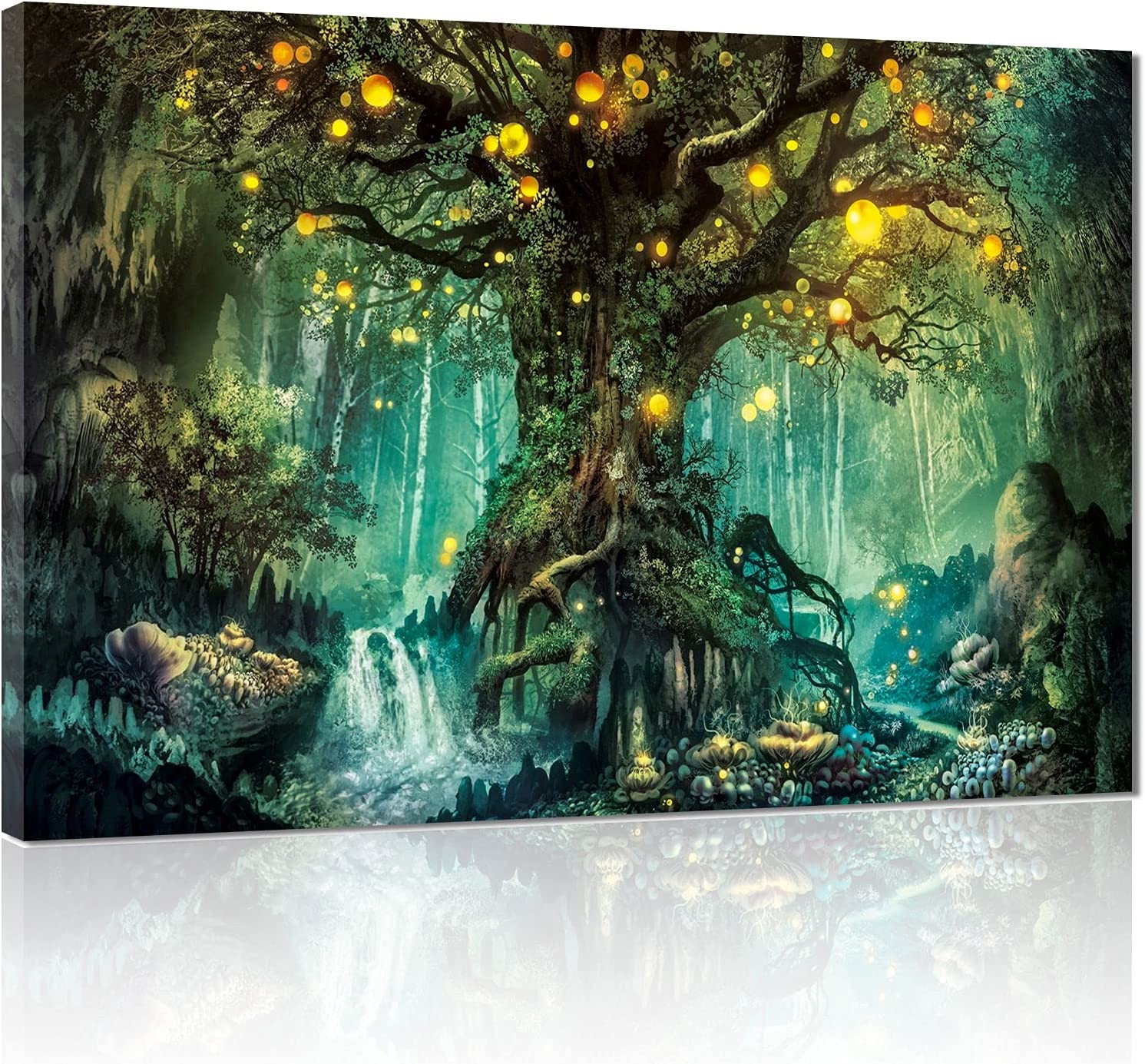 Tree of Life Fantasy Forest Canvas Wall Art, Abstract Painting Home Decor, Landscape Prints for Home Decorations, Visual Fantasy Poster,Modern Framed for Living Room Bathroom Bedroom