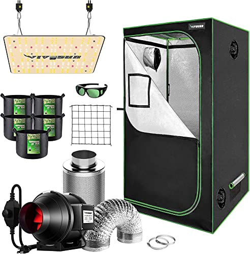 """2021 VIVOSUN 36""""x36""""x72"""" Mylar outlet online sale Hydroponic Grow Tent outlet online sale Complete Kit with 4 Inch 190 CFM Inline Duct FanPackage, VS1000 LED Grow Light, Glasses, Grow Bags, Trellis Netting online"""
