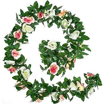 Li Hua Cat artificial flower 60 heads rose vine garland artificial Flowers plants for wedding home party garden craft art decor 2pcs Spring-orange