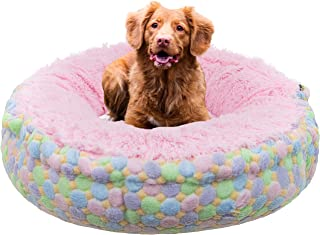product image for Bessie and Barnie Ice Cream/ Bubble Gum Luxury Shag Ultra Plush Faux Fur Bagelette Pet/Dog Bed (Multiple Sizes)