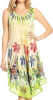 Sakkas Jimena Women's Tie Dye Sleeveless Caftan Dress Sundress Flare Floral Print