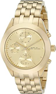 Marc By Marc Jacobs Peeker Women'S Gold Dial Stainless Steel Band Chronograph Watch - Mbm3393, Gold,