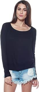 A+D Womens Thin Knit Dolman Sleeve Top W/Round Hem