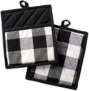 DII Buffalo Check Plaid Pot Holders with Pocket, , Black & White, (Set of 2), 9