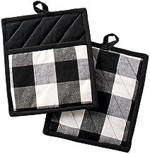 "DII Buffalo Check Plaid Pot Holders with Pocket, Black & White, (Set of 2), 9"" x 8"""