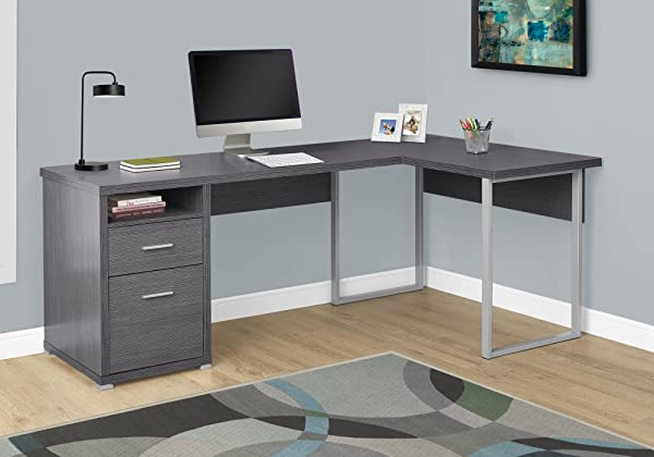 Monarch Specialties Computer Desk L Shaped Corner Desk With File Cabinet Left Or Right Set Up 80 L Grey