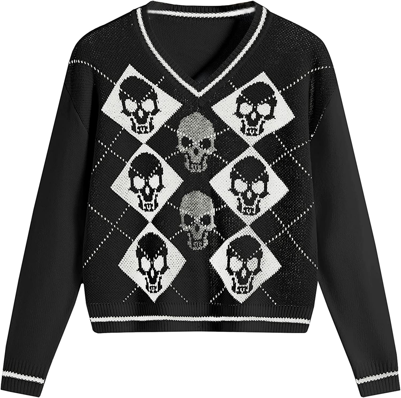 Women Halloween Spiders/Skull Pattern Knitted Vest V-Neck Sleeveless Loose-Fit Knitwear