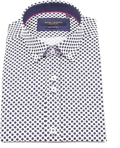 Guide London Marine Coton Satin Bold Polka Dot Imprimer Manches Courtes Le Mode été Vacances Chemise décontractée pour Hommes HS2248