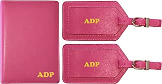 Personalized Monogrammed Hot Pink Leather RFID Passport Wallet and 2 Luggage Tags