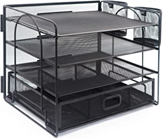 DALTACK 4-Trays Desktop File Organizer with Pen Holder | Letter Tray Paper Tray with Drawer and 2 Pen Holder | Black Mesh ...