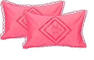 Rj Products Luxurious Embroidered Cotton Pillow Covers of Standard Size (Gajri Colour)
