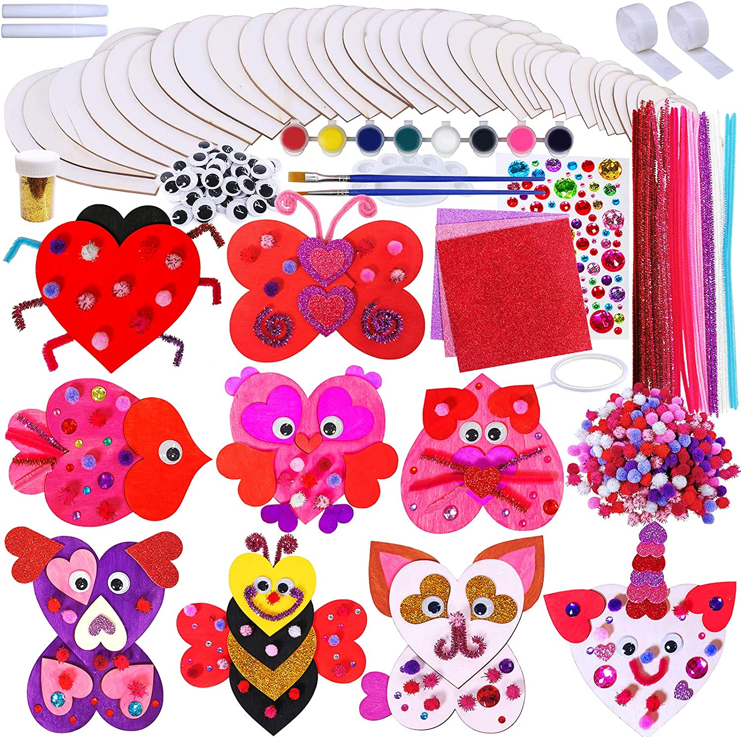 18 Sets Heart Animals Wood Ornaments Decoration DIY Wood Heart Craft Kit Paintable Wooden Heart Cutouts Paints Pom-poms Googly Eyes for Kids Valentine Classroom Party Decor Mother's Day Gift