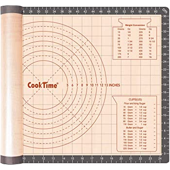 Silicone Pastry Baking Mat Non Stick-Large Rolling Dough with Measurements-Non Slip Pizza,Fondant,Pie,Cake Baking Mat - 26 x 16 Inch By Cook Time
