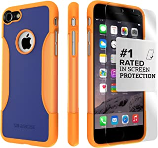 iPhone 8 Case and 7 Case, SaharaCase Protective Kit Bundle with [ZeroDamage Tempered Glass Screen Protector] Rugged Protection Anti-Slip Grip [Shockproof Bumper] Slim Fit - Blue Orange
