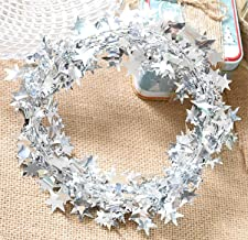 Yesier 25 FT Star Tinsel Garlands with Wire Christmas Tree Party Decoration Festive Ornament, Silver, 2 Pack