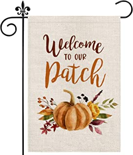 Dsben Fall Pumpkin Watercolor Garden Flag 12×18 Inch Double Sided, Welcome to Our Patch Farmhouse Yard Seasonal Thanksgivi...