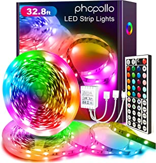 Best Phopollo Led Strip Lights Color Changing 32.8ft Flexible 5050 RGB Led Lights Kit with 12v Power Supply and 44 Key Ir Remote Controller Review