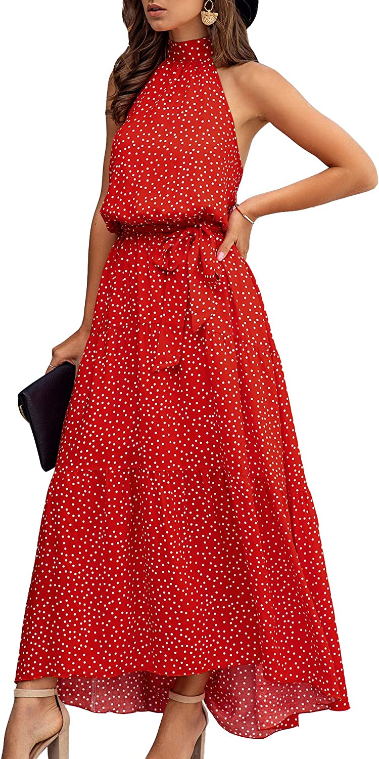 Minipeach Women's Halter Neck Floral Easy-to-use Polka Dot Color Solid Print Quality inspection