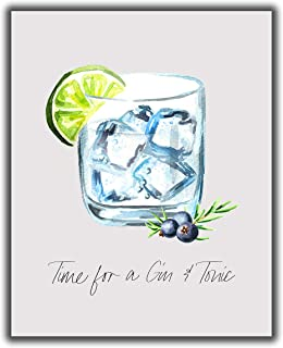 """Gin & Tonic Cocktail Bar Wall Art. 8x10 UNFRAMED Decor Print - Makes a Great Gift for Kitchen, Home & Wet Bar, Martini, Wine or Tiki Bar. """"Time for a Gin & Tonic"""""""