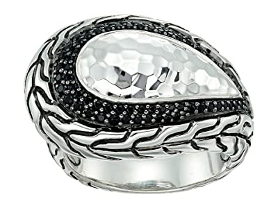 John Hardy Classic Chain Hammered Silver Ring with Black Sapphire and Black Spinel (Black Sapphire) Ring