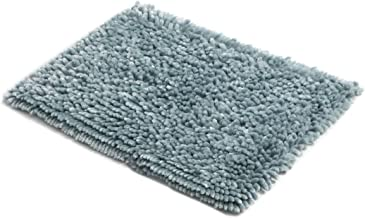 MICRODRY SoftGloss Shiny Absorbent Shag Chenille Memory Foam Bath Mat with GripTex Skid-Resistant Base (17x24, Aqua)
