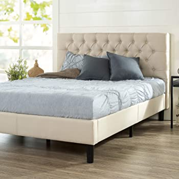 Zinus - Misty - Upholstered Platform Bed Frame / Mattress Foundation / Easy Assembly with Strong Wood Slat Support - Queen (Taupe)