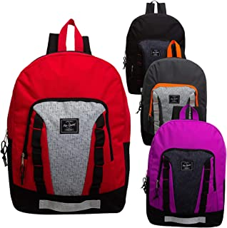 17 Inch Wholesale Sport Backpack in 4 Assorted Colors - Bulk Case of 24 Bookbags