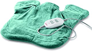Sunbeam Heating & Massage Pad for Neck & Shoulder Pain Relief | XL Renue, 2 Heat & 2 Massage Settings with Auto-Shutoff | Jade, 25-Inch x 25-Inch