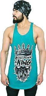 Anax Aesthetics Longline Arc Bow Down to The King Gym Wear, Sleeveless Gym Stringer, Men's Vest, Gym Vest, Tank Top, Sando...