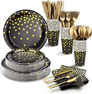 "Birthday Plates and Napkins Sets for Adult, Black and Gold Party Supplies, 24 Guests - Including 54"" x 108"" Tablecloth, Pa..."