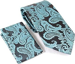 Enimay Men's Paisley Combo Pack 2pc Set Tie and Handkerchief Maroon