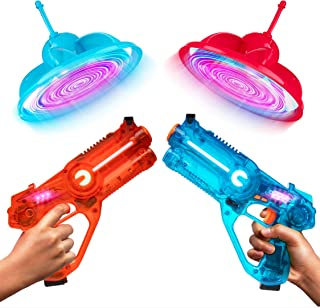Power Your Fun Laser Launchers Laser Tag Gun Set - Lazer Tag 2 Player Shooting Games with 2 Toy Guns, 2 Flying Toy Targets