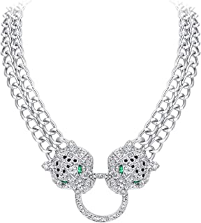 Austrian Crystal Double Leopard Animal Circle Necklace