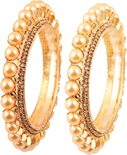 Touchstone New Pearl Bangle Collection Indian Bollywood Elite Class Faux Pearls Thick Designer Jewelry Kadas Bangle Bracelets. Set of 2. for Women in Antique Gold Tone.