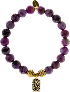 EvaDane Natural Sugilite Gemstone Tibetan Bead Lotus Charm Stretch Bracelet
