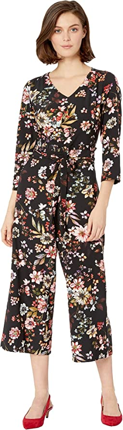 3/4 Sleeve V-Neck Floral Printed Stretch Crepe Jumpsuit