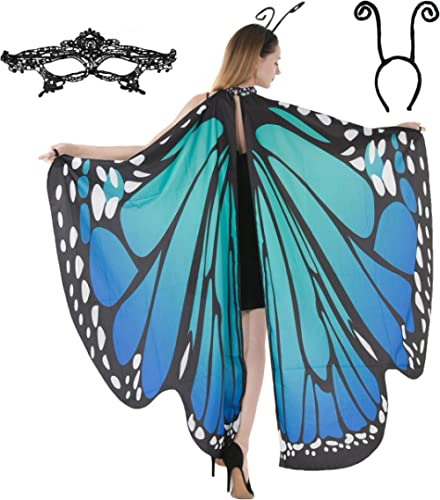 Butterfly Wing Cape Shawl with Lace Mask and Black Velvet Antenna Headband Adult Women Halloween Costume Accessory