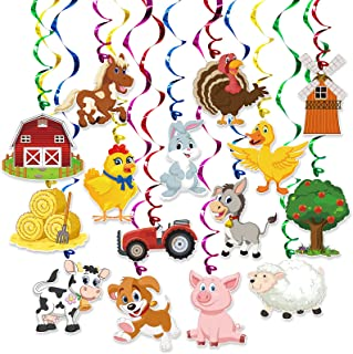 Farm Animal Party Hanging Swirl Decorations 30 Pack Party Banner Hanging Swirl Banner Decor Animal Farm Party Supplies for...
