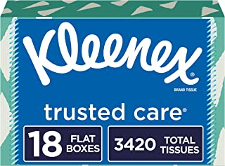 Kleenex Trusted Care Facial Tissues, 18 Flat Boxes, 190 Tissues per Box, 190 Count (Pack of 18)