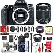 Canon EOS 77D 24.2MP 1080P DSLR Camera w/EF-S 18-55mm f/4-5.6 is STM + Sandisk 32GB Memory + Traveling Accessory Essentials Bundle (20pc)