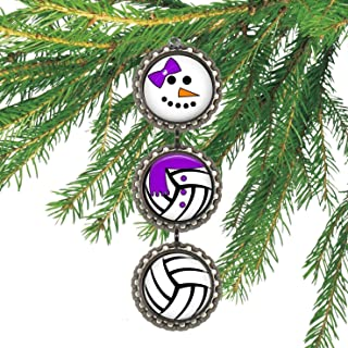Girl's Volleyball Bottlecap Christmas Ornament