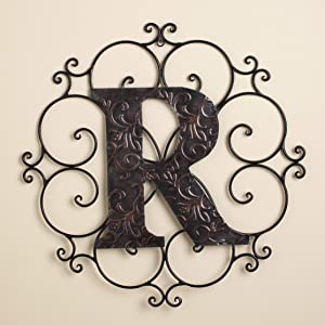 The Lakeside Collection Monogram Wall Hanging Decoration with Distressed Scrollwork Finish - R