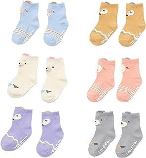 Nuziku Baby Toddler Girls Crew Grip Socks, Anti Slip Non Skid Animal Cotton Stockings 6 Pairs