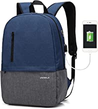 Laptop Backpack, Waterproof School Backpack With USB Charging Port For Men Women, Lightweight Anti-theft Travel Daypack College Student Rucksack Fits up to 15.6 inch Computer(Blue)